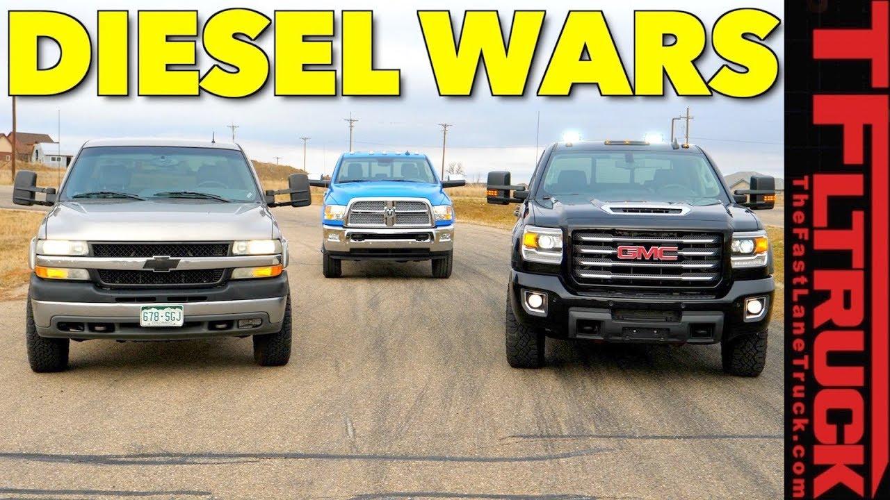 New (GMC Sierra) vs Old (Chevy Silverado) vs New (Ram 2500) HD Diesel Drag Race