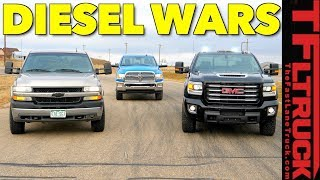 New (GMC Sierra) vs Old (Chevy Silverado) vs New (Ram 2500) HD Diesel Drag Race