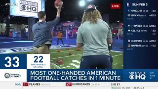 Brady Quinn and Jarvis Landry link up to set the record for most one-handed catches in one minute with 48 CATCHES. SUBSCRIBE TO OUR PAGE: ...