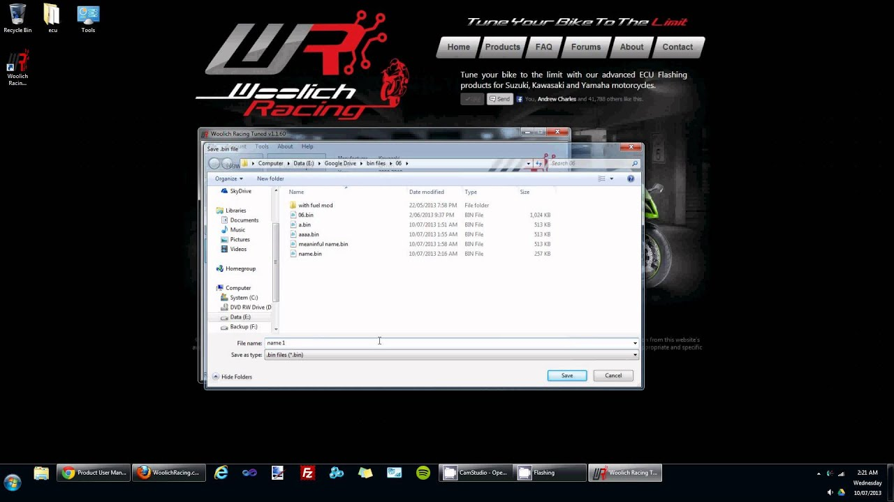 Writing to an ECU in the Woolich Racing Tuned (WRT) software