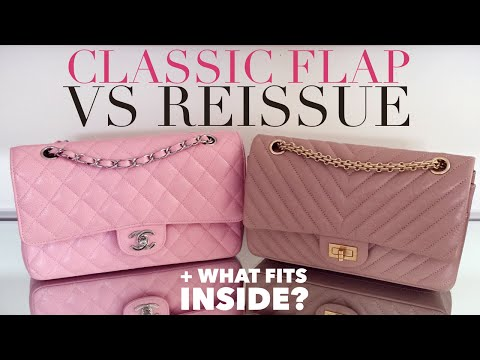 CHANEL Classic Flap Vs Reissue Bag Comparison | What fits inside and Worn Side by Side