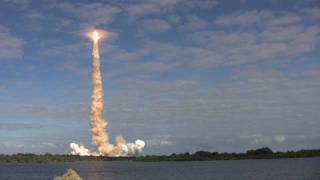 Space shuttle Atlantis launch, from press site