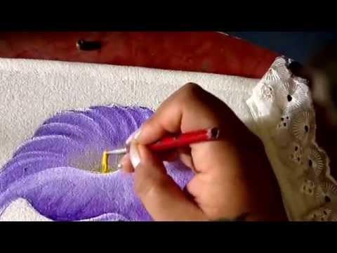 Pintura en tela juego de bao con alcatraz rosa y violeta con cony