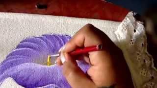 Pintura en tela juego de baño con alcatraz rosa y violeta con cony