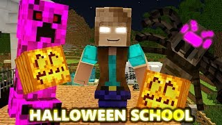 GIRL MONSTER SCHOOL: HALLOWEEN SPECIAL! BRAVE CHALLENGE Ft. Pumpkins (official) Minecraft Animation