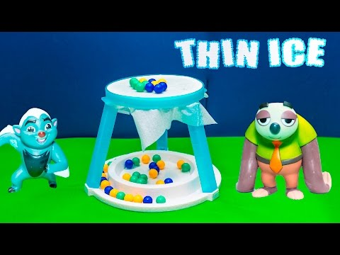 Playing the Thin Ice Game with Zootopia Flash versus Lion Guard Bunga