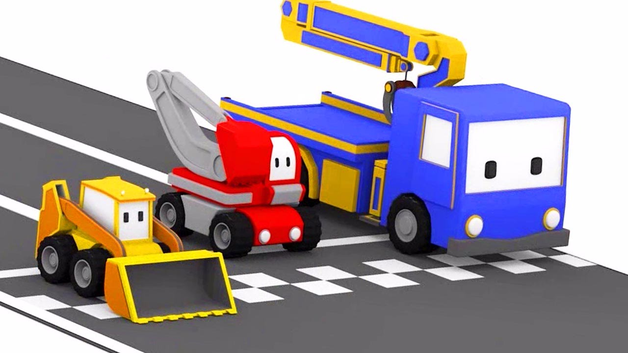 La piste de course et tiny trucks bulldozer grue tractopelle dessin anim ducatif youtube - Tractopelle dessin ...