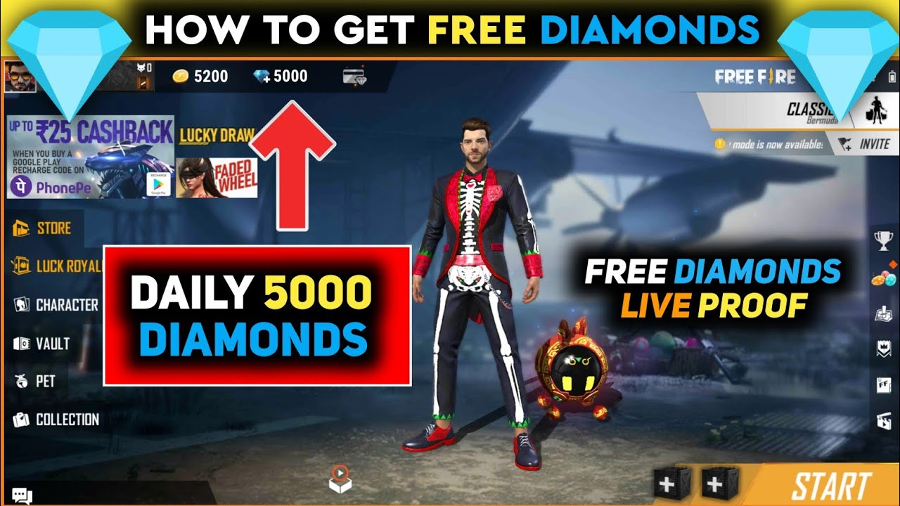 How To Get Free Diamonds In Free Fire Get 5000 Diamond Daily In Free Fire Free Diamonds Youtube