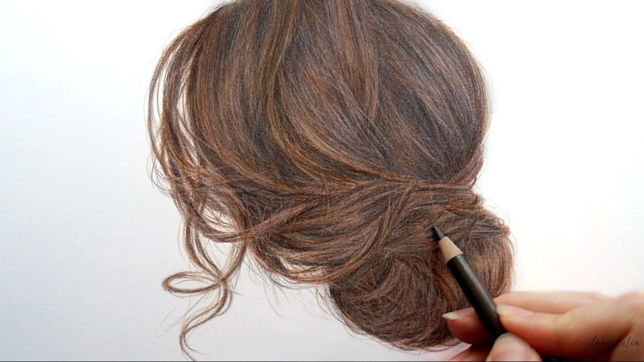 Timelapse drawing and coloring brown hair with colored pencils emmy kalia youtube