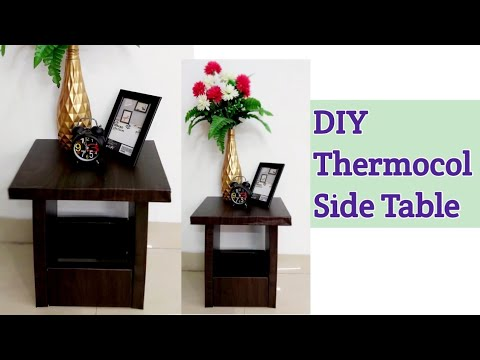 How to make side table from Thermocol sheet #DIY side table #Easy Bed side table craft #Thermocol