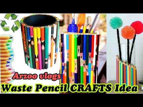 Best out of Waste | How to Use Waste pencils | DIY Pencil Crafts | ARZOO VLOGS