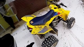 First snow + Quad Suzuki Z400 - Winter ATV riding - Frozen river + Public roads