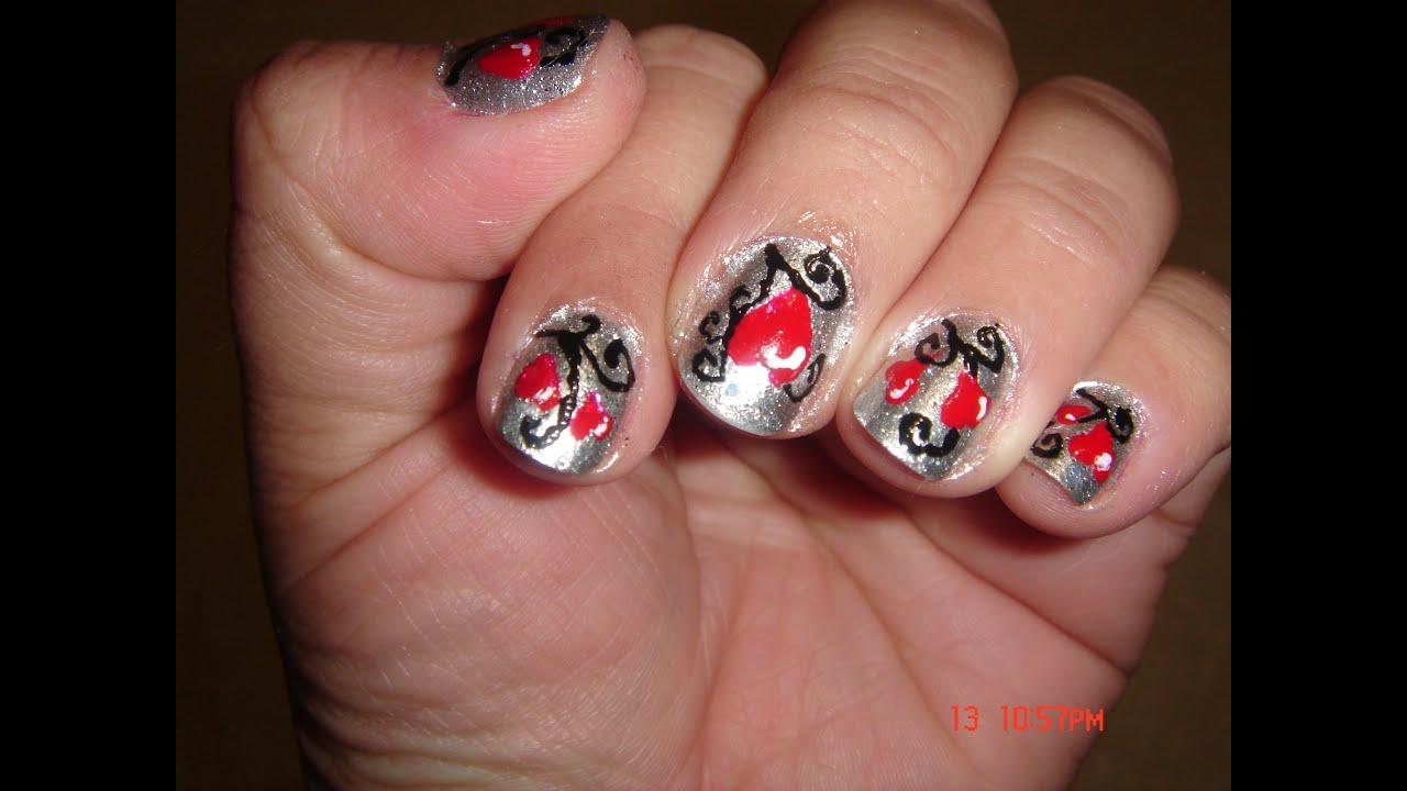 SAN VALENTIN diseño de uñas plateado y rojo - YouTube