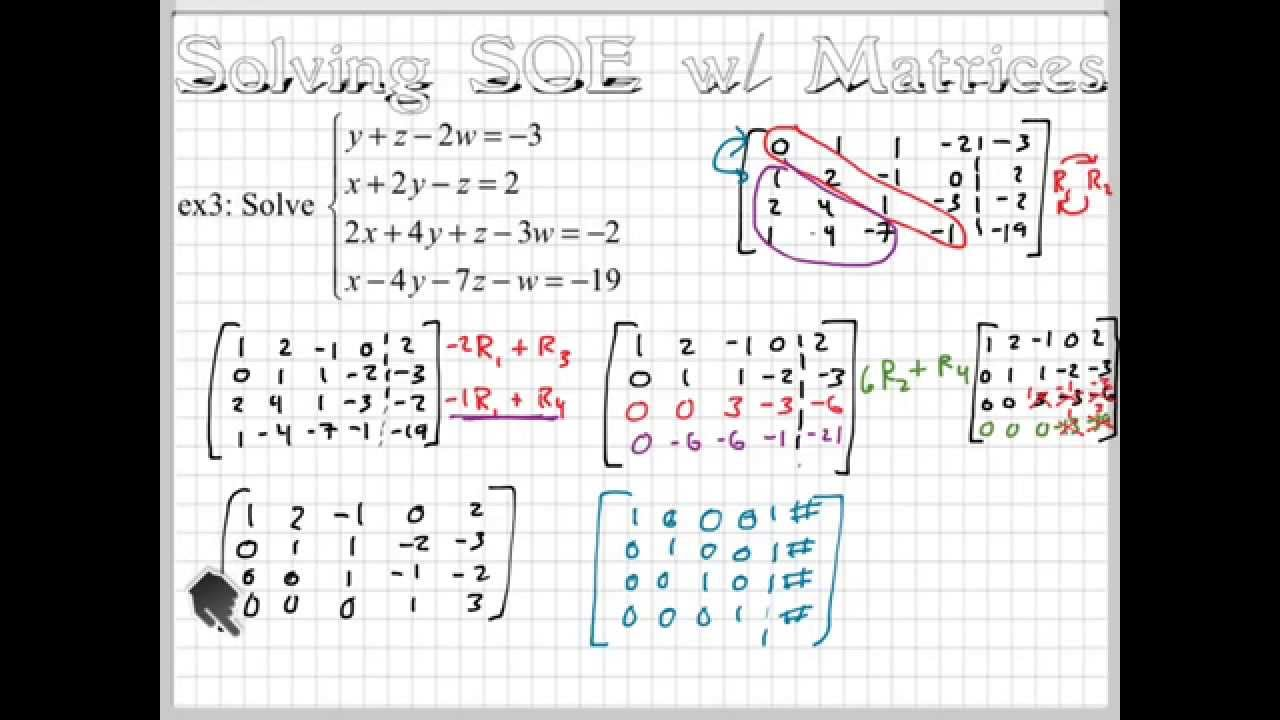 Solving a 4x4 with Matrices