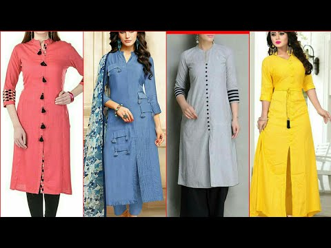 Stylish And Trendy Plain Cotton Designer Long Tunic Casual Kurti Design For Girls