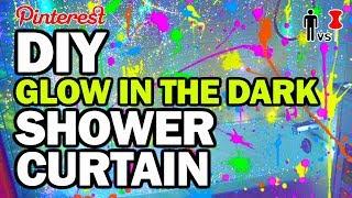 DIY Glow in the Dark Shower Curtain - Man Vs Pin by : ThreadBanger