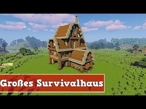 Wie Baut Man Ein Großes Survivalhaus In Minecraft   Minecraft Großes Survivalhaus Bauen