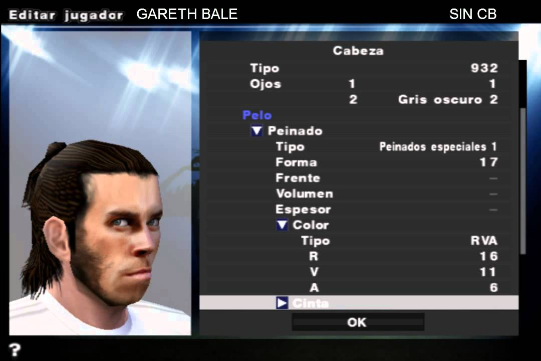 New Hair Garteh Bale Sin Cb Pes 20516 Pspps2wii Youtube