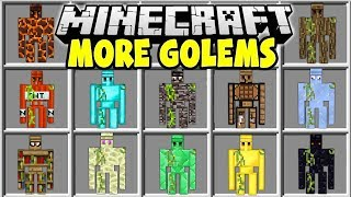 Minecraft MORE GOLEMS MOD | SPAWN THE STRONGEST MINECRAFT GOLEMS TO PROTECT YOU!!