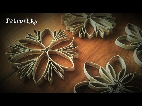 DIY - How to make Toilet Paper Roll Snowflakes and Christmas Flower