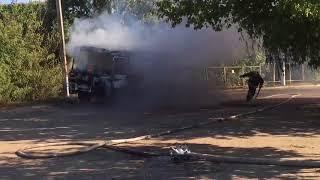 В Балашове на выезде с заправки сгорел пассажирский автобус