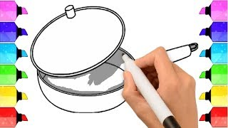 How to Draw a Pot - Cooking Pot Easy Draw Tutorial - Cooking Pot Coloring Page