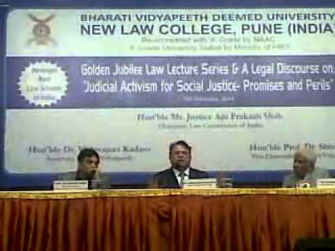 Speech by Chairman Law Commission of India in NLC Pune.