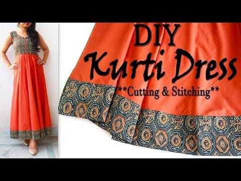 diy-:-kurti-dress-(cutting-&-stitching-)-|-trendy-maxi-dress-for-summerss