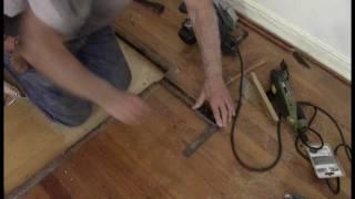 Oak flooring replacing a floor furnace