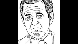 How to draw George Bush face sketch drawing step by step