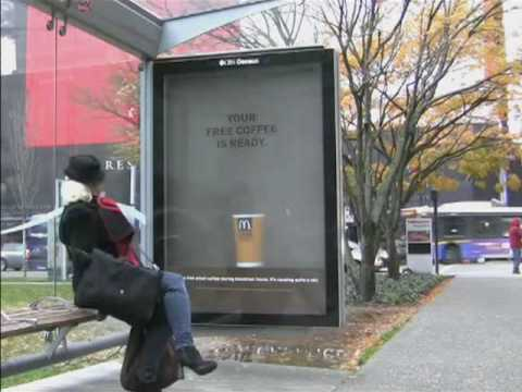 Mcdonalds steam in bus shelters