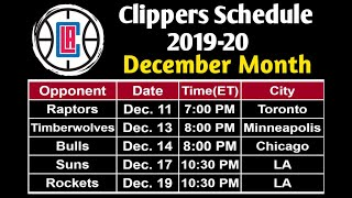 Clippers Complete Schedule 2019-20 of December Month
