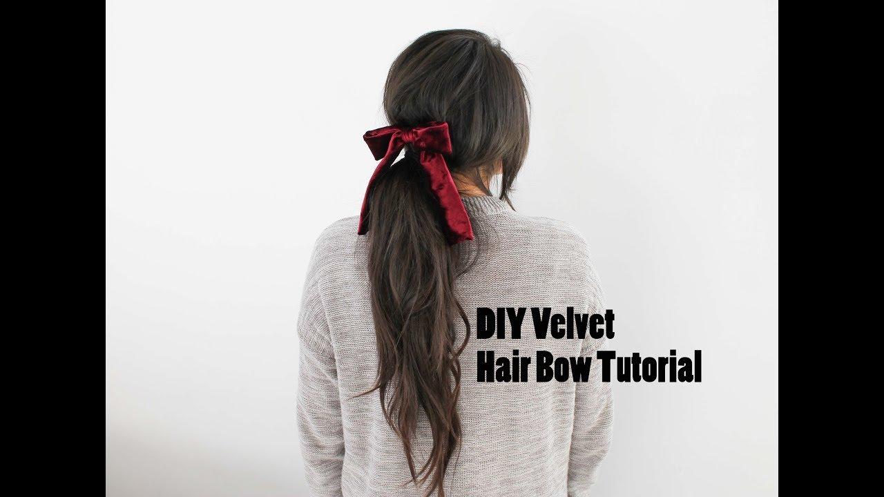 9380f493f652 DIY Velvet Hair Bow Tutorial - YouTube