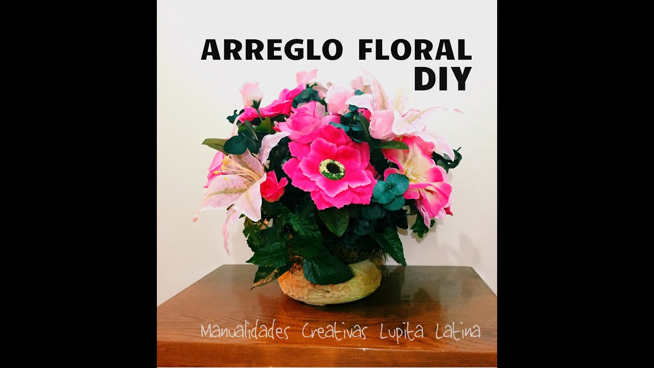 Diy centro de mesa flores artificiales flower arrangement - Centros de mesa artificiales ...