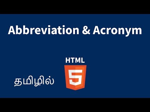 HTML Abbreviation And Acronym Tags Explained In Tamil