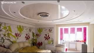 видео Натяжной потолок в гостинной, дизайн потолка в гостинной