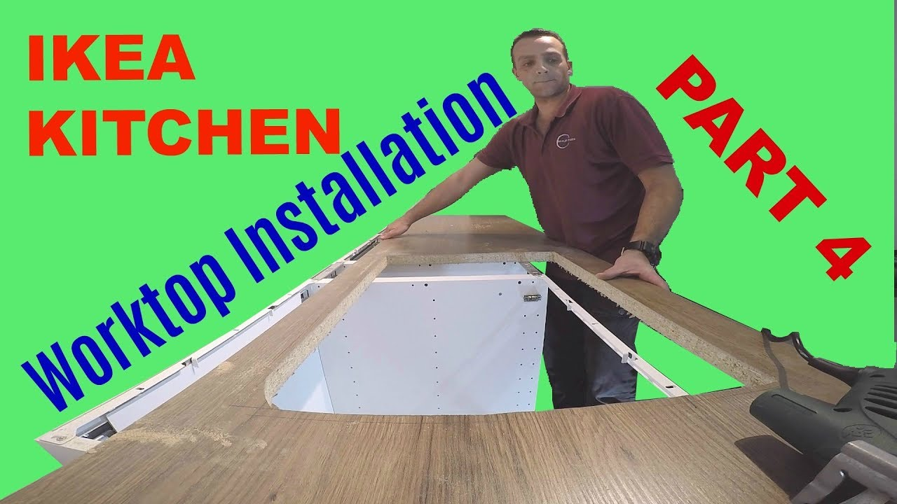 Ikea Kitchen Part 4 Laminate Ikea Worktop Cutting With Inset Sink And Hob Youtube