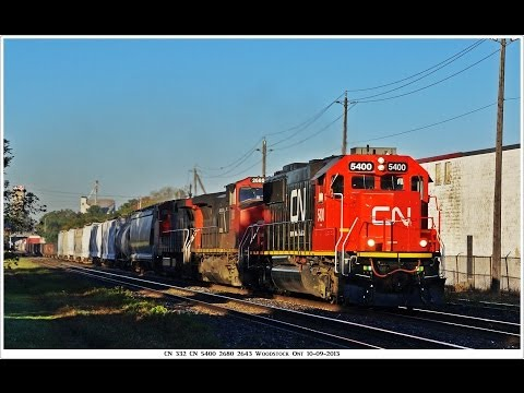 RAILREEL VIA CN CN 580 Burford Sub Street running Brantford 10 10 2013