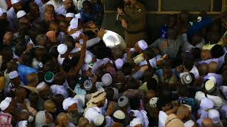 Kissing of Hajar Aswad (The Black Stone) in the Holy Grand Mosque of Masjidil Haram in Mecca