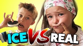 REAL FOOD vs. ICE FOOD Challenge! Überraschendes Ergebnis!? Lulu & Leon - Family and Fun