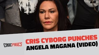 Cris Cyborg punches Angela Magana at UF...