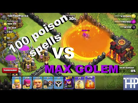 Clash of Clans: 100 POISON SPELLS VS. MAX GOLEM! (COC Gameplay new spell update)
