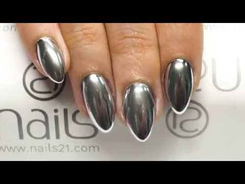 MIRROR CHROME REFLECTIVE EFFECT SILVER NAILS - NAILS 21 - YouTube