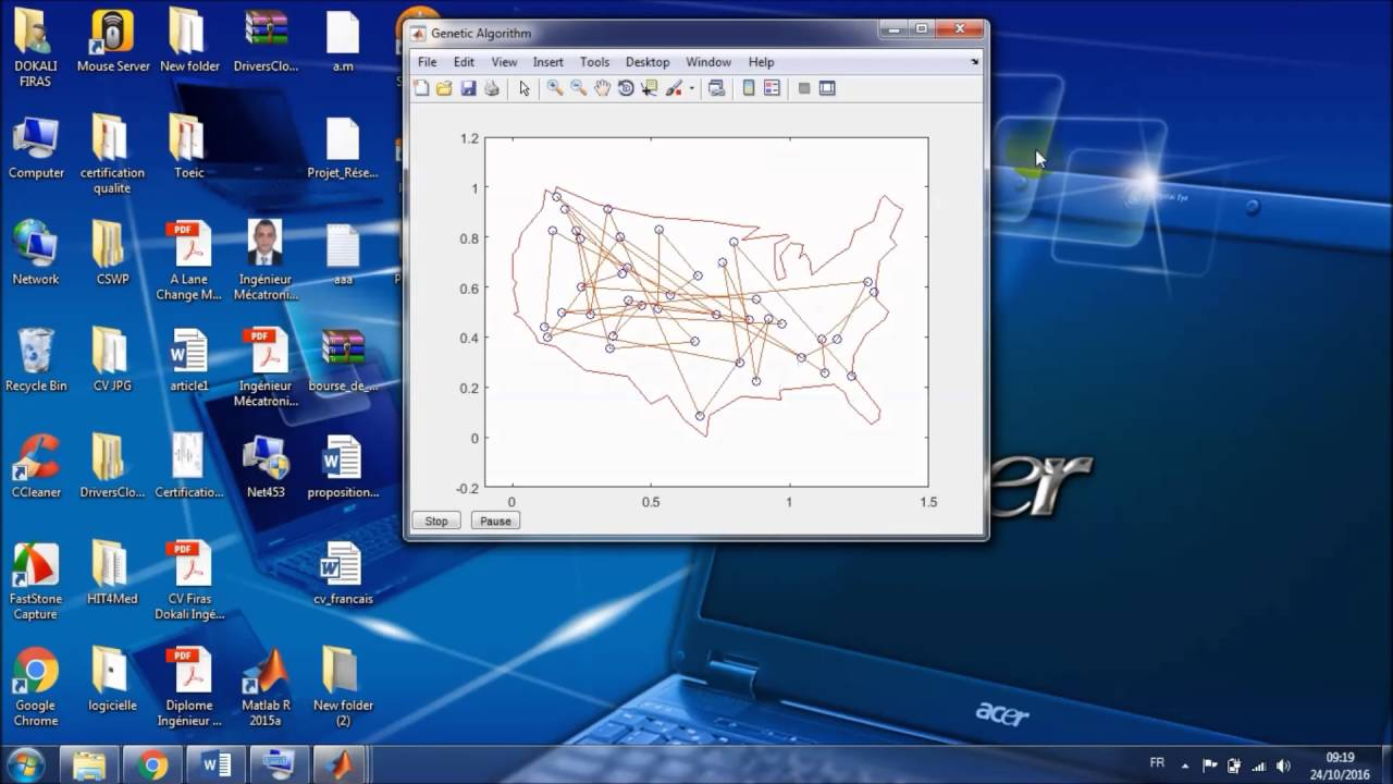 Genetic Algorithm Traveling Salesman USA Matlab Code
