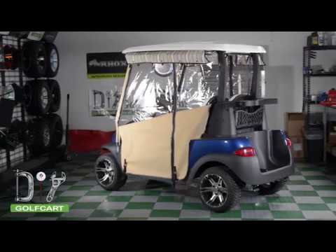 Pro Touring Sunbrella Golf Cart Enclosure Installation on Club Car on golf cart side curtains, golf cart rain curtains, golf cart convertible top,