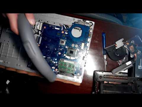 Разборка ноутбука Samsung Rv518, замена разъема питания и чистка с заменой термопасты