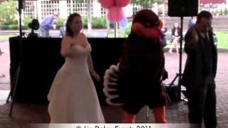 Hokie Bird Surprises Bride & Groom in Yorktown Virginia