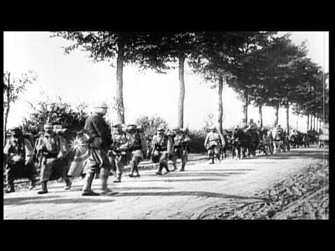 French troops arrive in Belgium for Battle of  the Yser, in World War I HD Stock Footage