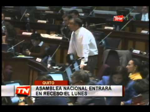 Asamblea Nacional Entrará en Receso el Lunes