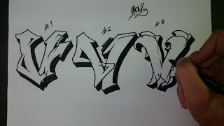 "How to draw Graffiti Letter ""V"" on paper"